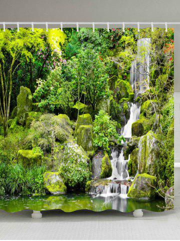 Natural Scenery Printed Eco-Friendly Shower Curtain - Yellow Green - W71 Inch * L79 Inch