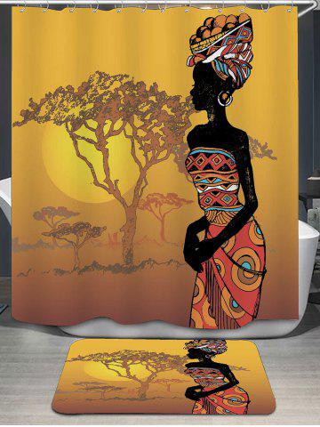 African Beauty Bath Curtain and Rug - Ginger - 180*180cm