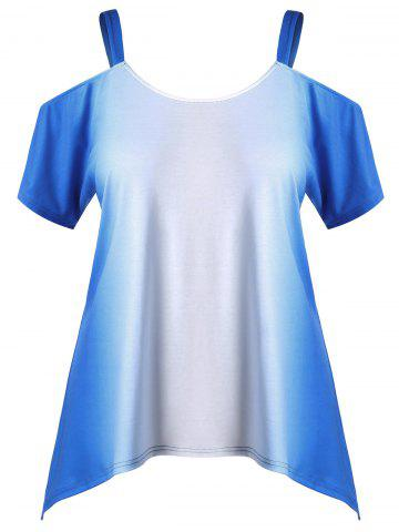 Chic Plus Size Cold Shoulder Ombre Tee