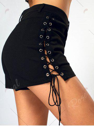 Affordable Side Lace Up High Waist Mini Shorts - S BLACK Mobile