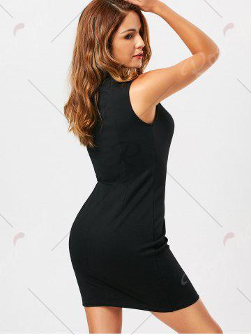 Outfits Criss Cross Lace Up Sleeveless Bodycon Dress - L BLACK Mobile