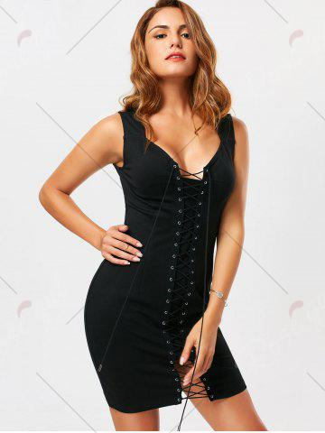 Online Criss Cross Lace Up Sleeveless Bodycon Dress - L BLACK Mobile