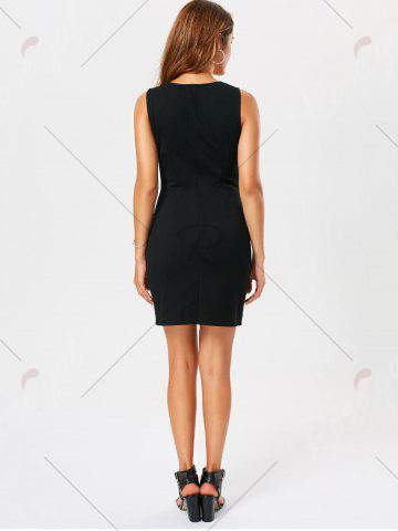 Fashion Criss Cross Lace Up Sleeveless Bodycon Dress - L BLACK Mobile
