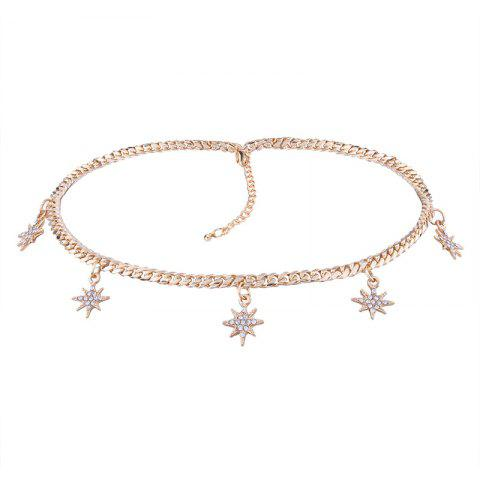 Alloy Rhinestone Charm Sun Star Chain Necklace - Golden