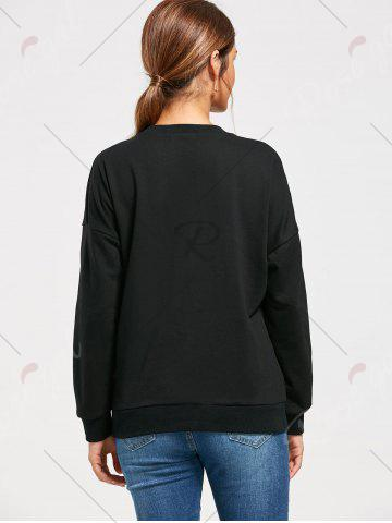 Fashion Flower Embroidery Drop Shoulder Sweatshirt - S BLACK Mobile