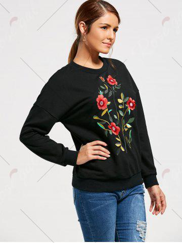 Hot Flower Embroidery Drop Shoulder Sweatshirt - S BLACK Mobile