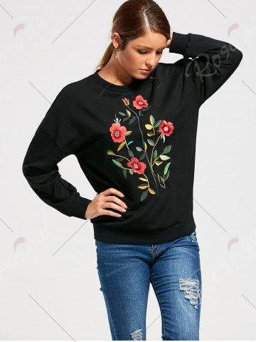 Shop Flower Embroidery Drop Shoulder Sweatshirt - S BLACK Mobile