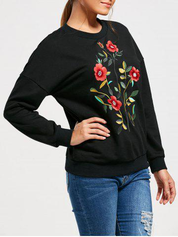 Chic Flower Embroidery Drop Shoulder Sweatshirt - S BLACK Mobile