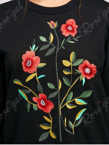 Cheap Flower Embroidery Drop Shoulder Sweatshirt - S BLACK Mobile