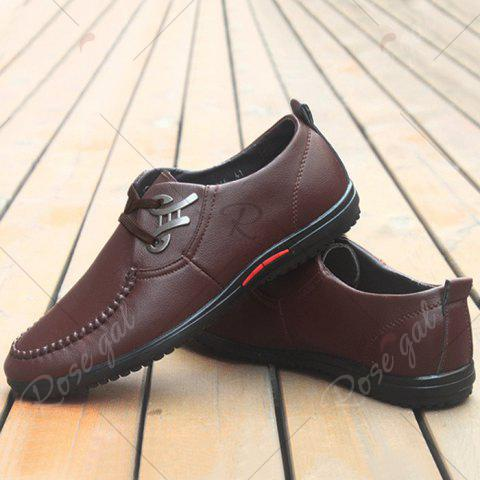 Shop Metal Embellishment Stitching Casual Shoes - 43 BROWN Mobile