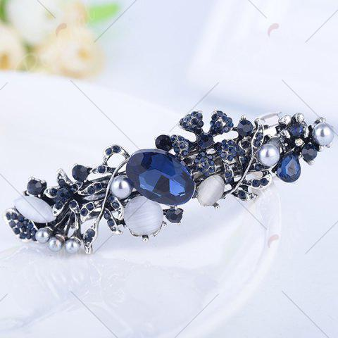 Outfits Hollow Out Floral Faux Gem Inlaid Barrette - PURPLISH BLUE  Mobile