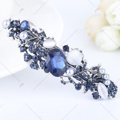 Store Hollow Out Floral Faux Gem Inlaid Barrette - PURPLISH BLUE  Mobile