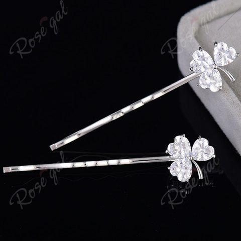 New 1 Pair Tiny Rhinestone Clover Embellished Hairpins - SILVER  Mobile