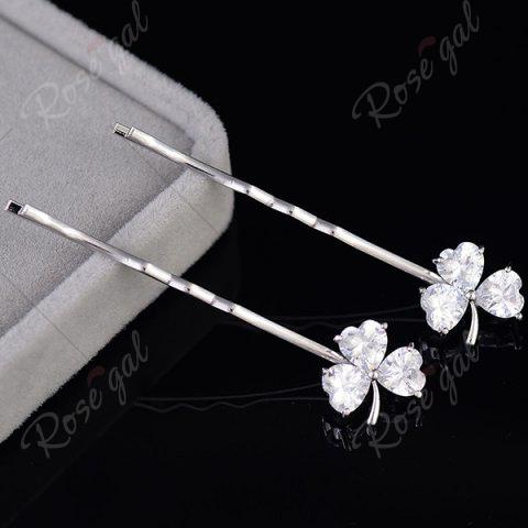 Latest 1 Pair Tiny Rhinestone Clover Embellished Hairpins - SILVER  Mobile