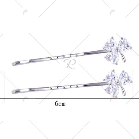 Store 1 Pair Tiny Rhinestone Clover Embellished Hairpins - SILVER  Mobile
