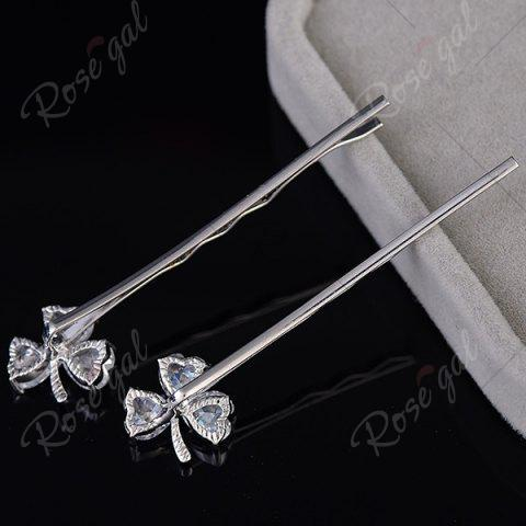 Affordable 1 Pair Tiny Rhinestone Clover Embellished Hairpins - SILVER  Mobile