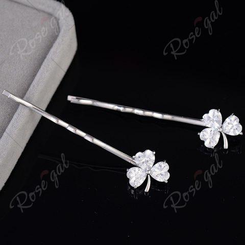 Fashion 1 Pair Tiny Rhinestone Clover Embellished Hairpins - SILVER  Mobile