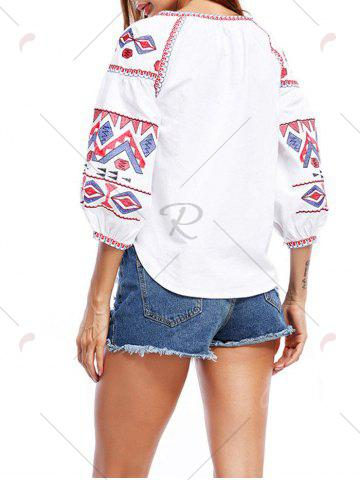 Cheap Puff Sleeve Tassels Embroidered Blouse - S WHITE Mobile