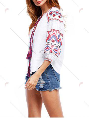 Trendy Puff Sleeve Tassels Embroidered Blouse - S WHITE Mobile