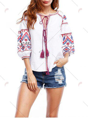 Fancy Puff Sleeve Tassels Embroidered Blouse - S WHITE Mobile