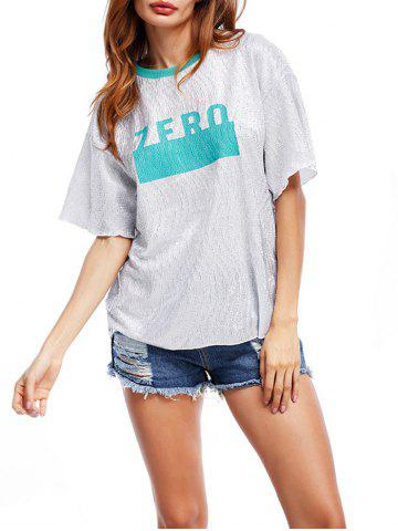 Glittering Graphic Tee - Blue Green - One Size