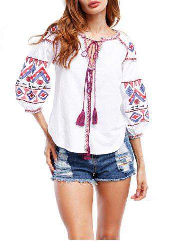 Puff Sleeve Tassels Embroidered Blouse - White - L