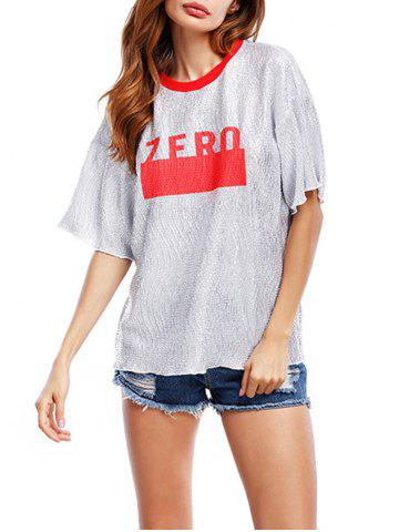 Chic Glittering Graphic Tee RED ONE SIZE