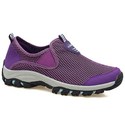 Elastic Band Mesh Athletic Shoes - Purple - 40