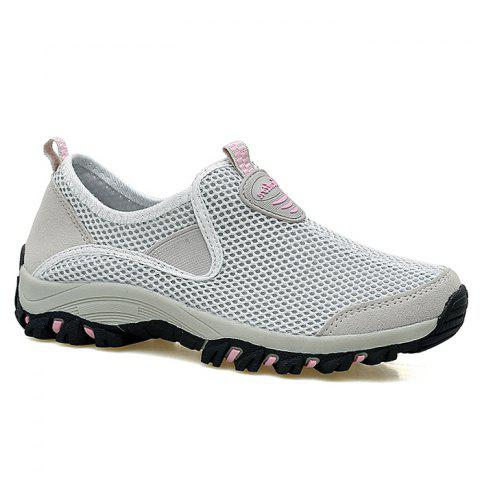 Outfit Elastic Band Mesh Athletic Shoes - 38 LIGHT GRAY Mobile