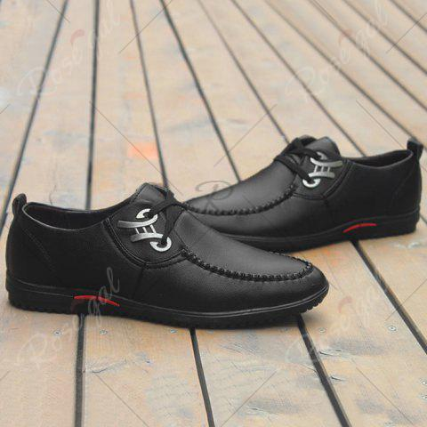 Hot Metal Embellishment Stitching Casual Shoes - 40 BLACK Mobile