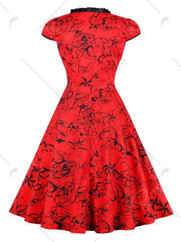 Trendy Vintage Lace Up Floral Pinup Dress - S RED Mobile