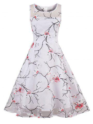 Shop Organza Floral Print Party Summer Dress - S RED Mobile