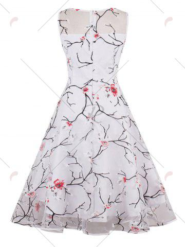 Hot Organza Floral Print Party Skater Dress - S RED Mobile