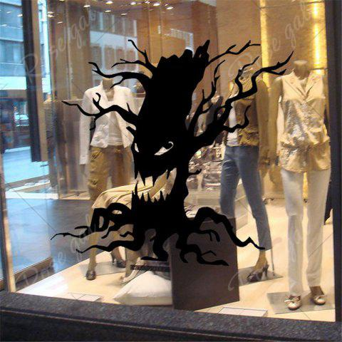 Outfits Removable Halloween Ghost Tree Wall Sticker - BLACK  Mobile