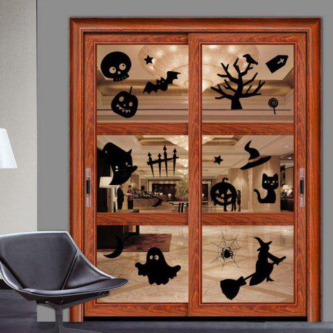 Outfits DIY Halloween Decoration Wall Stickers - BLACK  Mobile