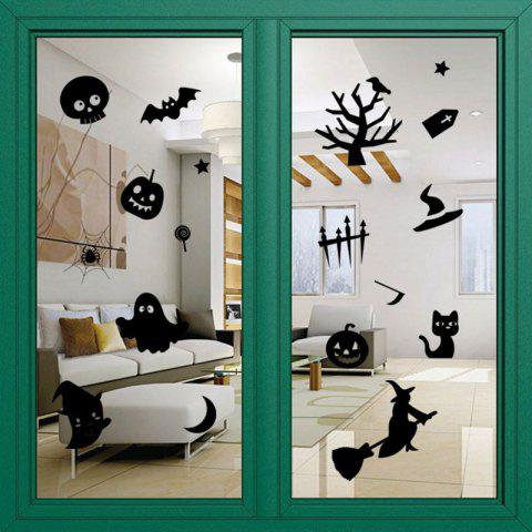 Trendy DIY Halloween Decoration Wall Stickers - BLACK  Mobile