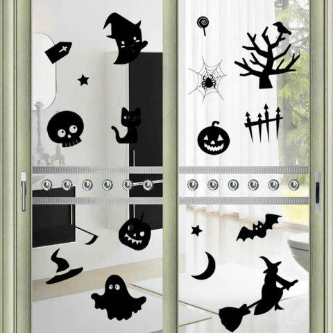 Shop DIY Halloween Decoration Wall Stickers - BLACK  Mobile