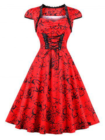 Vintage Lace Up Floral Pinup Dress - Red - 2xl