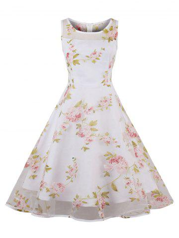 Sale Organza Floral Print Party Summer Dress - 2XL PINK Mobile