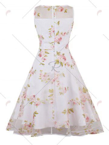 Chic Organza Floral Print Party Skater Dress - 2XL PINK Mobile