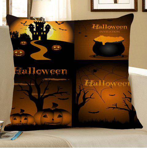 Discount Pumpkin Bat Printed Halloween Pillow Case - W18 INCH * L18 INCH COLORMIX Mobile