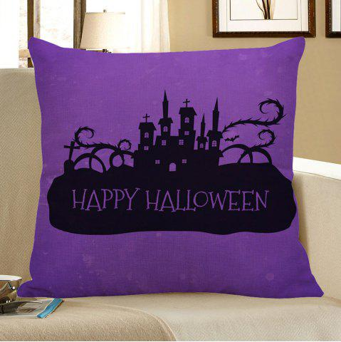 Fancy Halloween Castles Printed Pillow Case - W18 INCH * L18 INCH BLACK AND PURPLE Mobile