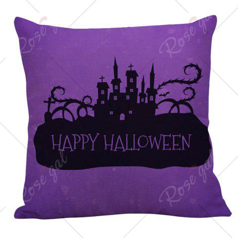 Trendy Halloween Castles Printed Pillow Case - W18 INCH * L18 INCH BLACK AND PURPLE Mobile