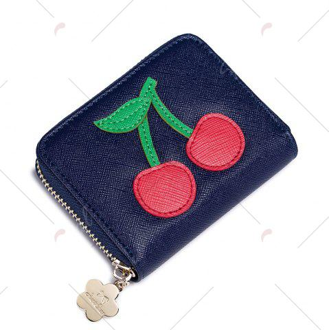 Buy Faux Leather Cherry Pattern Small Wallet - NAVY BLUE  Mobile