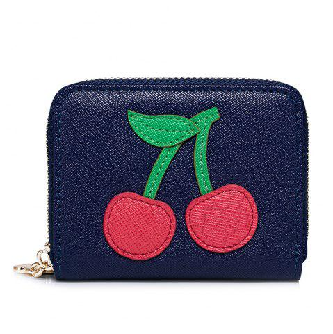 Online Faux Leather Cherry Pattern Small Wallet - NAVY BLUE  Mobile
