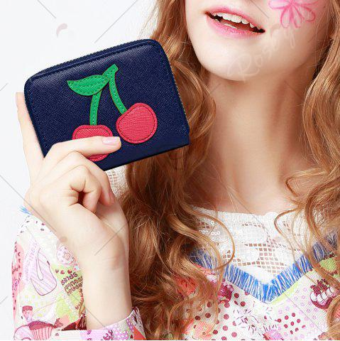 Discount Faux Leather Cherry Pattern Small Wallet - NAVY BLUE  Mobile