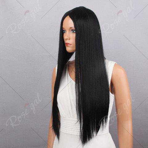 Fashion Center Parting Straight Long Synthetic Wig - 60CM BLACK Mobile
