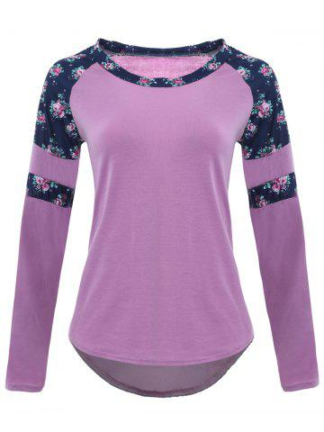 Raglan Sleeve High Low Floral T-shirt - Light Purple - S