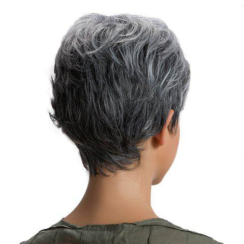 New Short Inclined Bang Fluffy Layered Straight Synthetic Wig - GRANDMA  Mobile