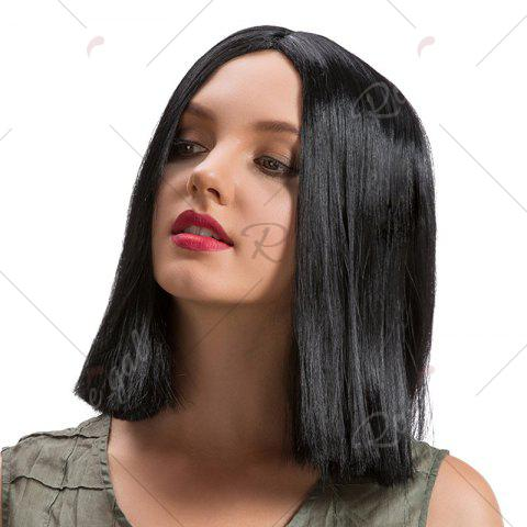 New Middle Part Straight Short Bob Synthetic Wig - BLACK  Mobile